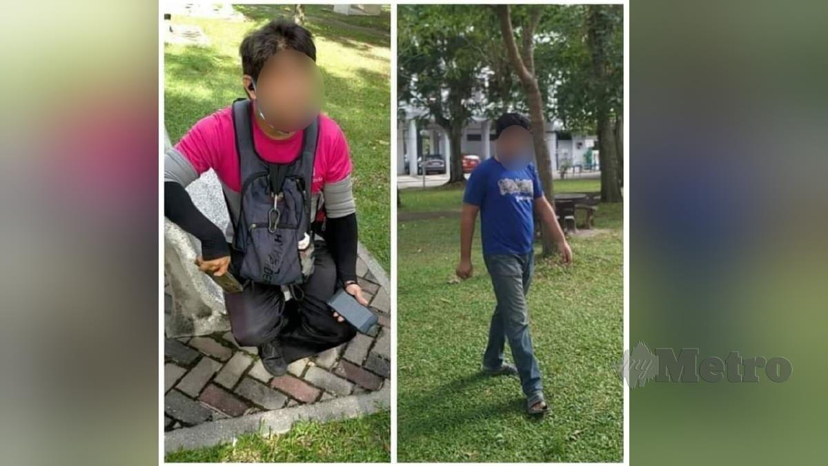 Mangsa cedera dipukul suspek (kiri) dan suspek sudah ditahan polis (kanan). FOTO ihsan polis