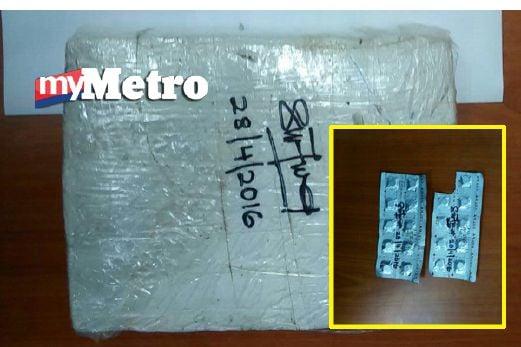 Ganja dan pil eramin 5 yang dirampas daripada penuntut IPT. FOTO ihsan PDRM