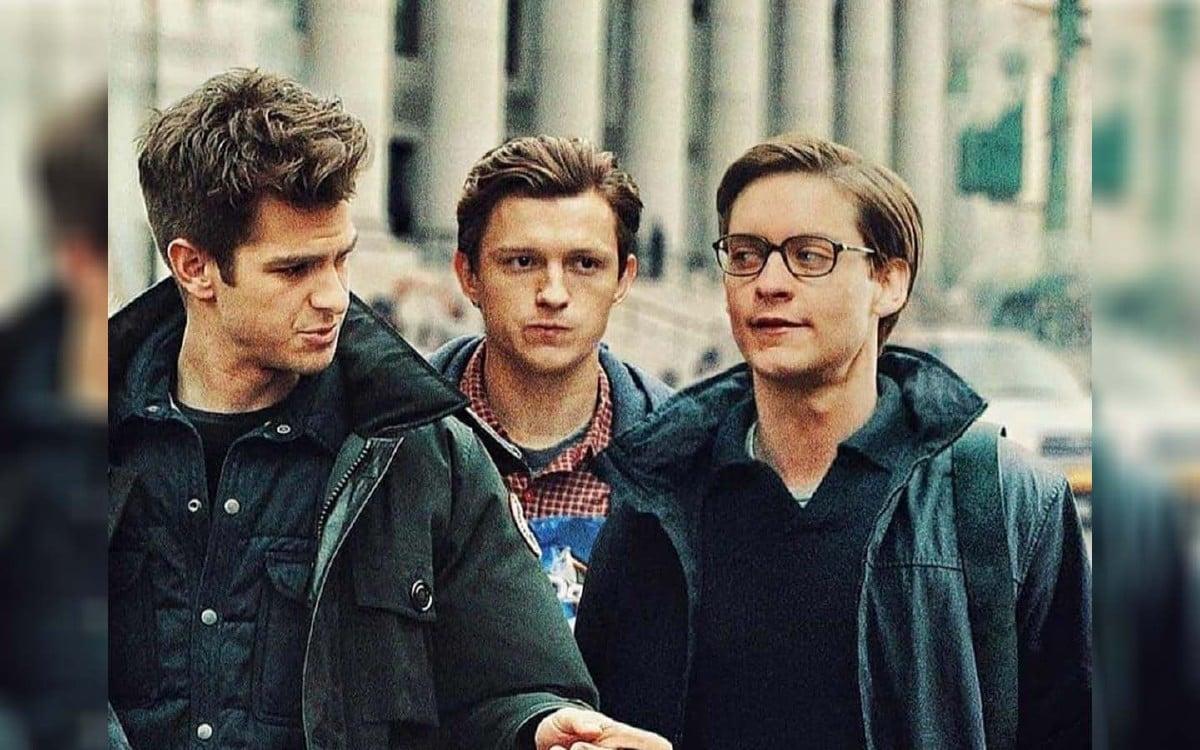 Andrew Garfield (dari kiri) Tom Holland (tengah) dan Tobey Maguire. FOTO AGENSI