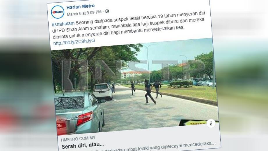 Laporan portal Harian Metro mengenai pelajar lelaki diserang sekumpulan lelaki bersenjatakan ranta dan batang besi di Setia Alam, Shah Alam.