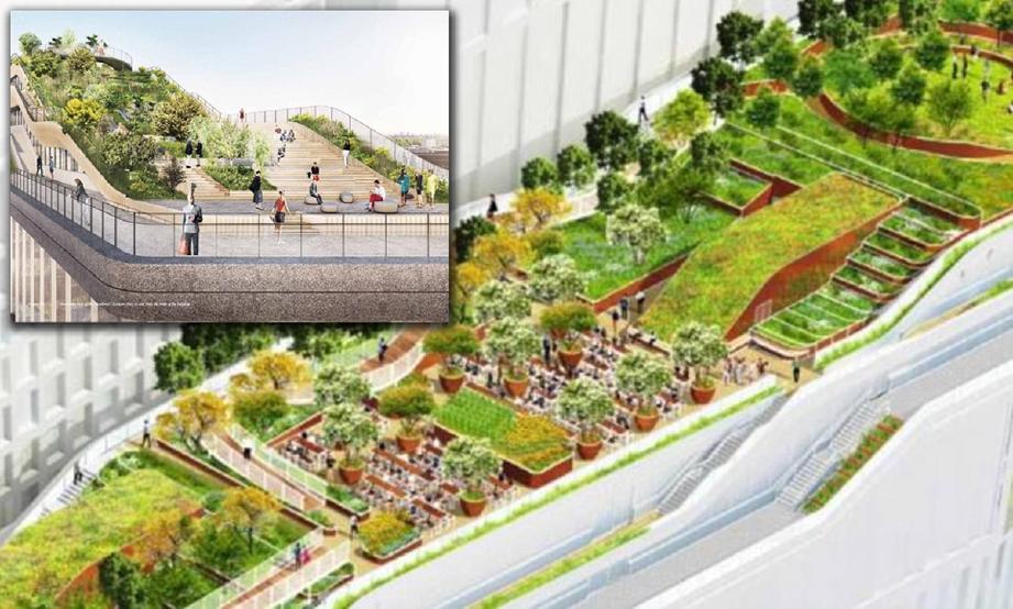 Taman di atas bumbung sepanjang 300 meter untuk pekerja bersantai.  - Foto Daily Mail