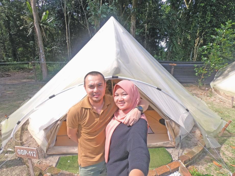PANORAMA indah alam semula jadi, penginapan dan pelbagai aktiviti riadah jadi pakej menarik bagi Daya Kamarudin dan suaminya memilih Gopeng Glamping Park. FOTO Daya Kamarudin