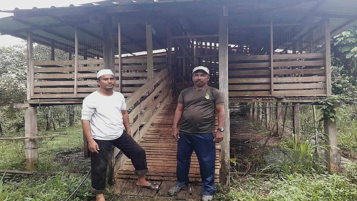 ZAMRI Mat Amin (kiri) dan Salehuddin Selat di hadapan kandang kambing mereka. FOTO ROSELAN AB MALEK