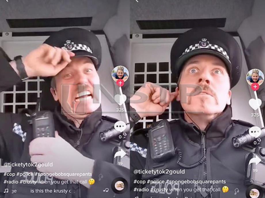 ANGGOTA polis Jonathan Gould bermain Tik Tok ketika bertugas. -Foto Daily Mail