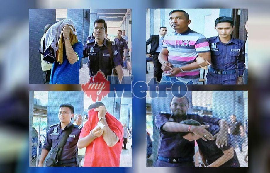Loo (atas kiri), Wan Mohd Yom (atas kanan), Muzaidi (bawah kiri) dan Mohd Budiman (bawah kanan) didakwa membuat tuntutan palsu bayaran balik GST di Mahkamah Sesyen Ipoh di sini, hari ini. FOTO Muhammad Apendy Issahak.