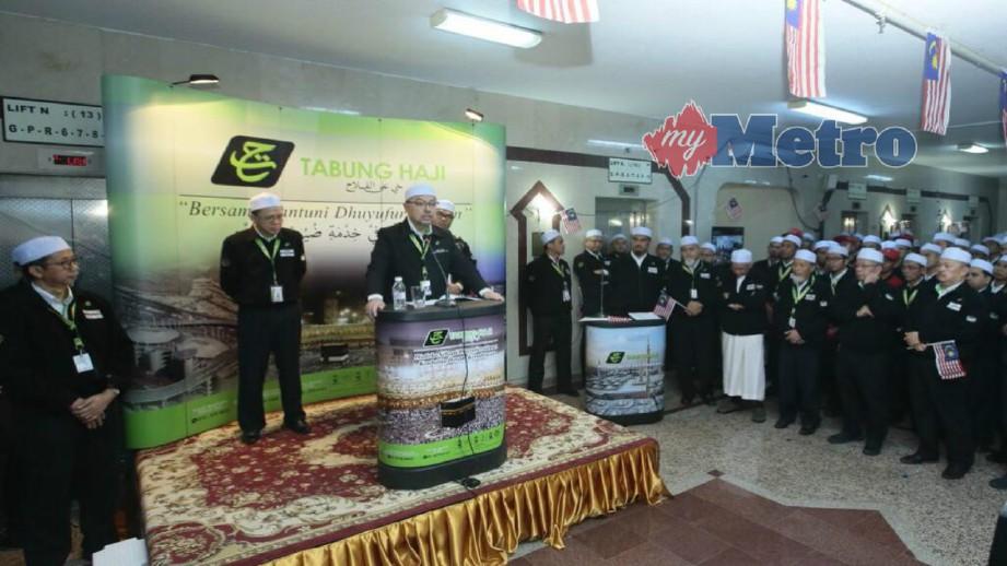 SYED Saleh berucap di perhimpunan bersama petugas TH bagi memberi kata semangat menjelang hari wukuf dan ibadat Masyair.