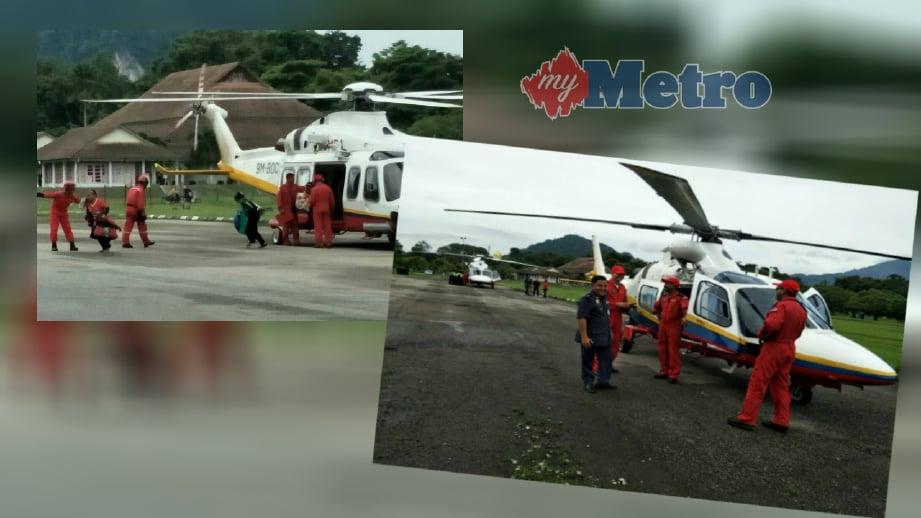 DUA helikopter Unit Udara JBPM mulakan operasi mengangkut pelajar Orang Asli di Gua Musang, hari ini. FOTO/ Ramli Ibrahim