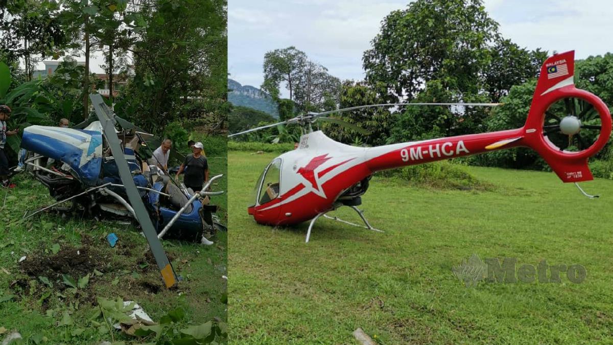 Helikopter yang terhempas (gambar kiri) dan (gambar kanan) helikopter yang melakukan pendaratan cemas di padang sekolah di Taman Melawati, Ampang. Foto Ihsan Pembaca