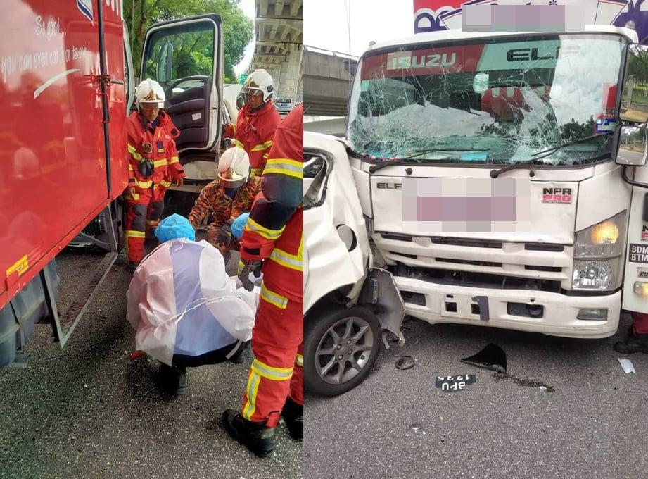 10 orang cedera termasuk pemandu lori selepas sebuah lori, kereta dan dua kenderaan pelbagai guna (MPV) terbabit dalam kemalangan berhampiran Taman Pudu Hulu. FOTO ihsan JBPM