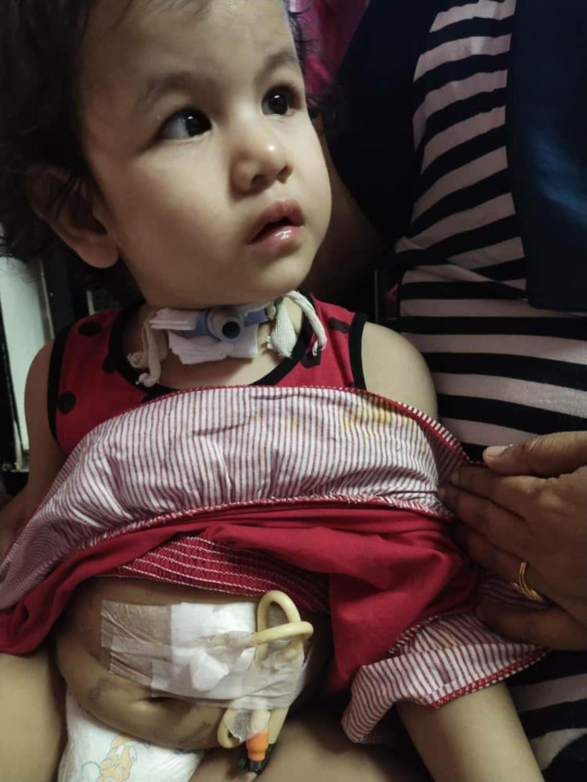 AIRA Arissa menghidap CCHS sejak lahir yang menyebabkannya bergantung dengan mesin bantuan pernafasan ketika tidur. FOTO ihsan Jalilah Awang Kenit