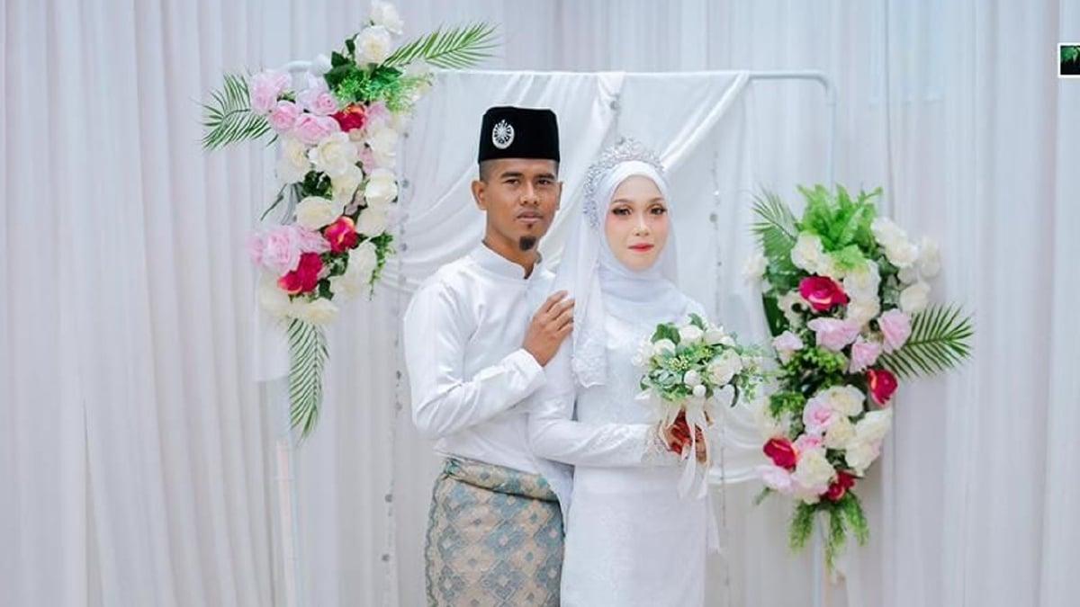 MAIZATUL Nadirah bersama Fakrurrazi selepas majlis akad nikah di Pejabat Agama Daerah Kuala Terengganu. FOTO Ihsan Fazrul