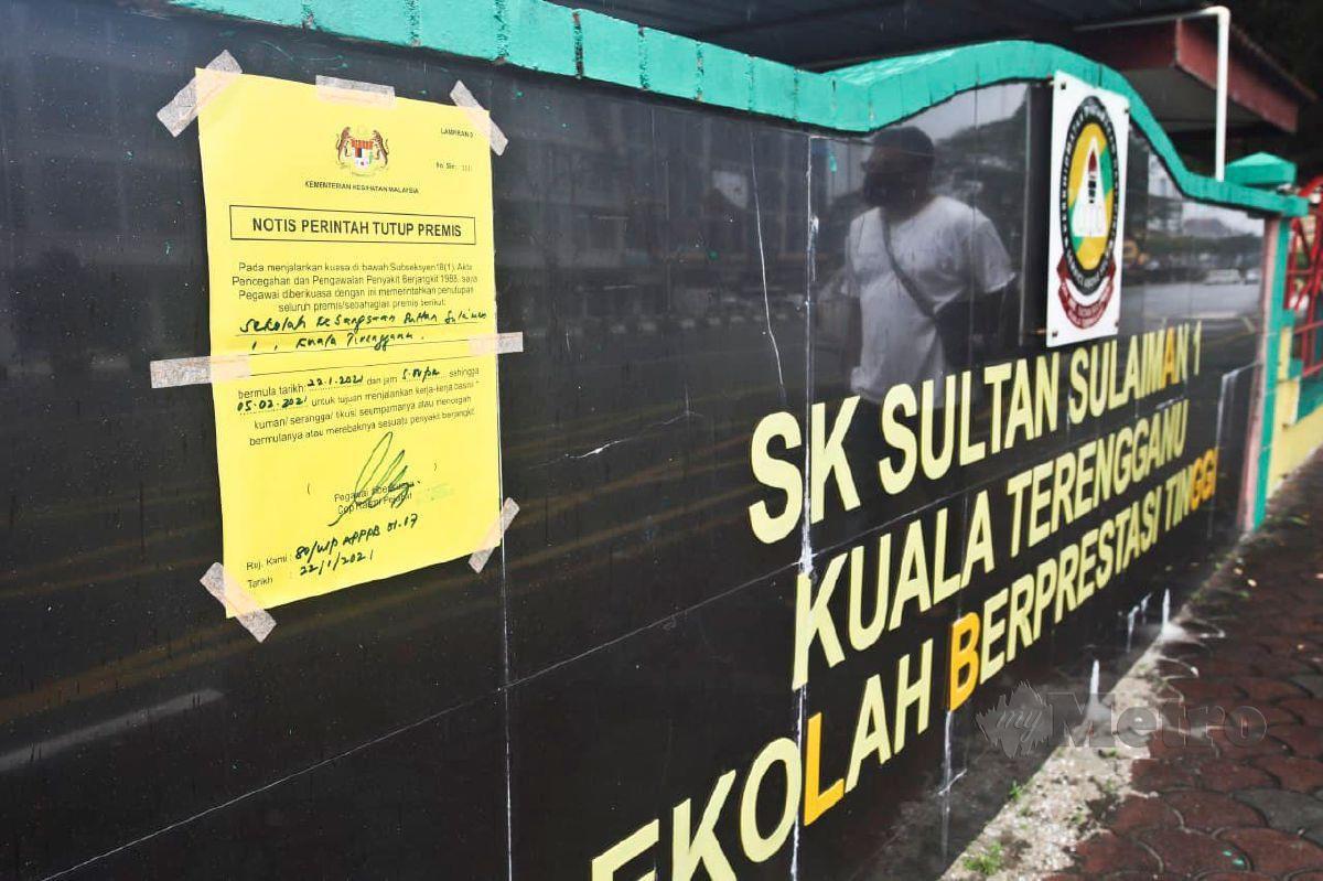 NOTIS pemberitahuan oleh KKM untuk  SK Sultan Sulaiman 1 ditutup selama 14 hari. FOTO Ghazali Kori