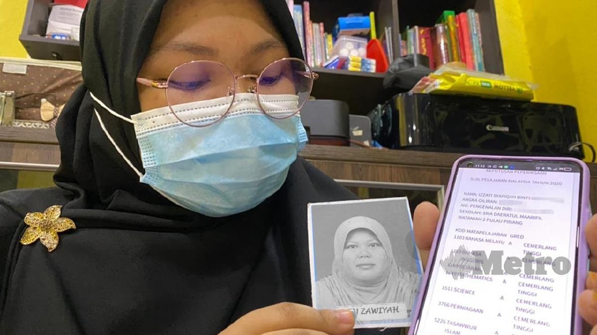 IZZATI Syafiqah pelajar SAM Daeratul Maarifil Wataniah 2 yang cemerlang dalam SPM dengan memperoleh 8A. FOTO Zuhainy Zulkiffli
