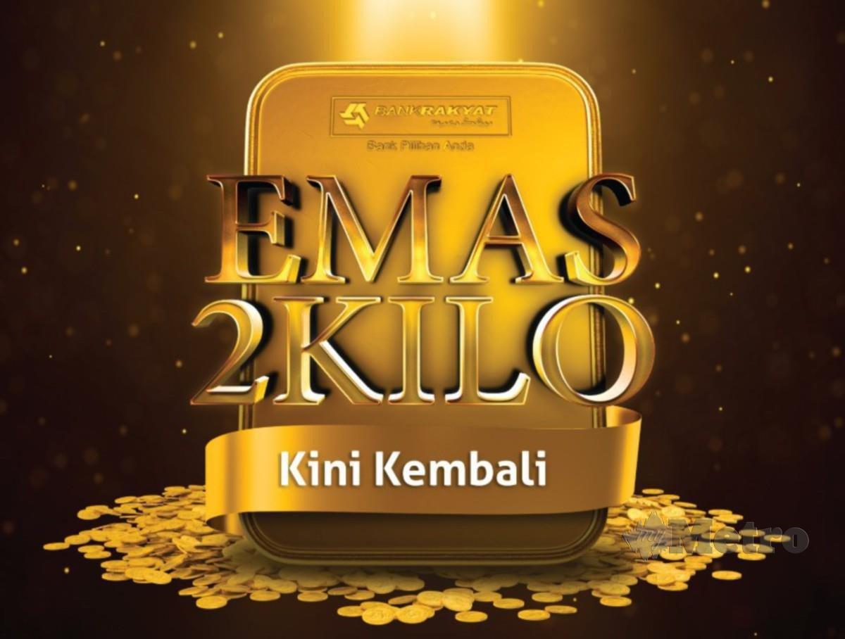 HADIAH berupa dua kilogram emas bernilai lebih RM500,000 ditawarkan kepada 101 pemenang.
