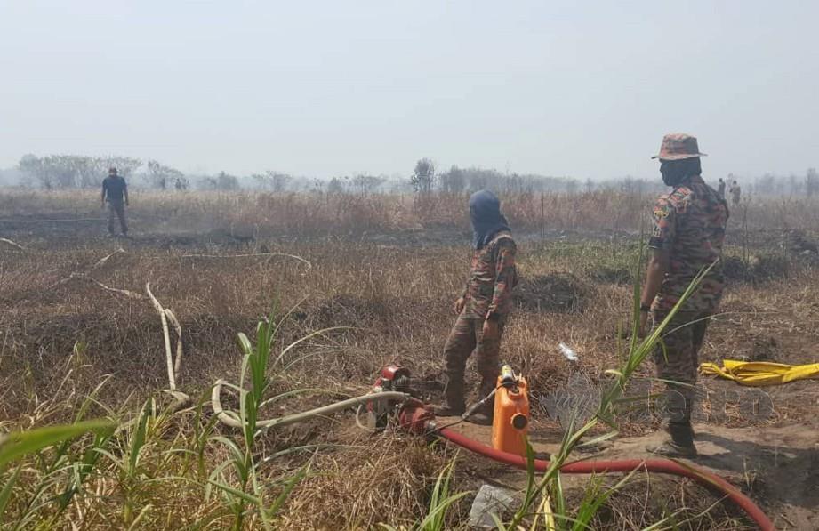 ANGGOTA bomba menjalankan operasi pemadaman kebakaran di Hutan Simpan Kuala Langat Selatan sejak Jumaat lalu. FOTO Ihsan JBPM