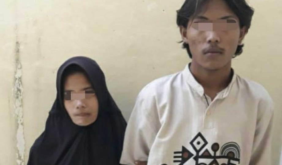 PASANGAN yang menjadi suspek pembunuhan seorang warga emas di Riau. FOTO Dok. Polres Inhu