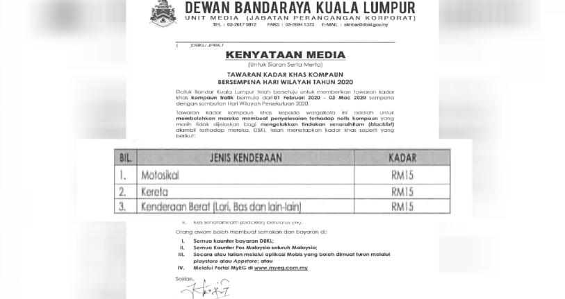 Kompaun Trafik Dbkl Hanya Rm15 Harian Metro
