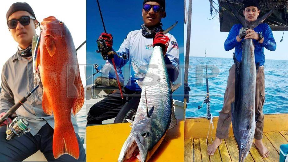 MOHD Khairi bersama antara ikan pernah tumpas di tangannya iaitu dari kiri, kerapu pisang, tenggiri dan layaran. FOTO Ahmad Rabiul Zulkifli.