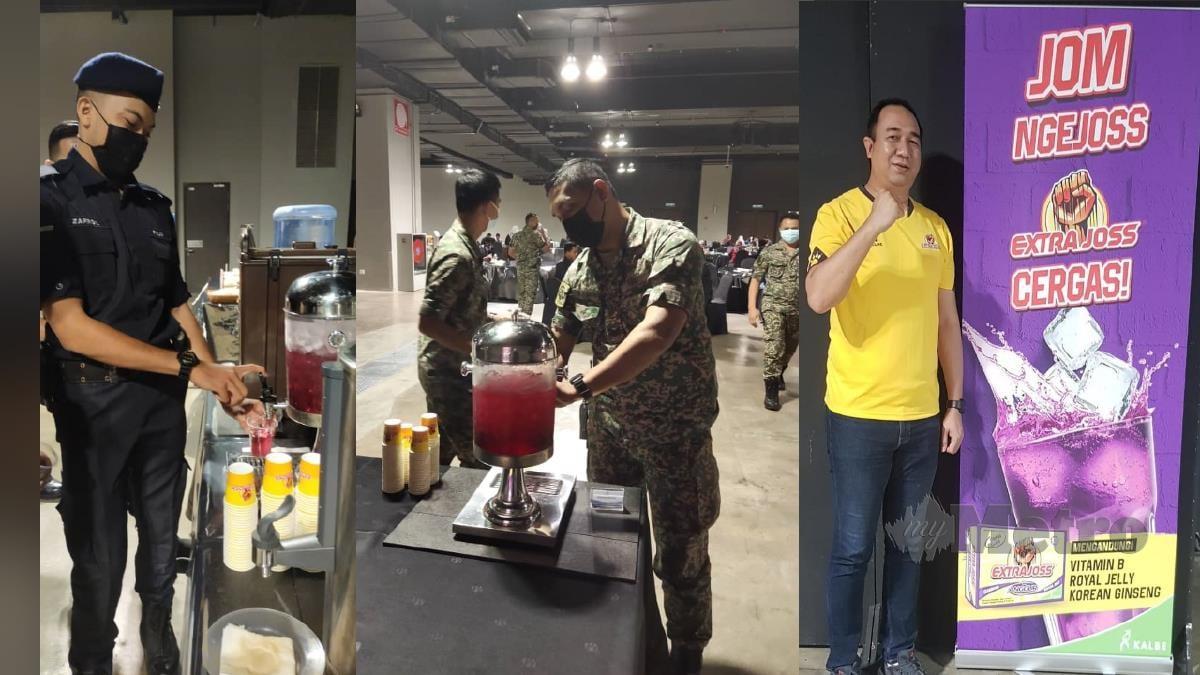 Petugas barisan hadapan di MITEC minum air minuman Extra Joss sumbangan Kalbe. FOTO ihsan pembaca