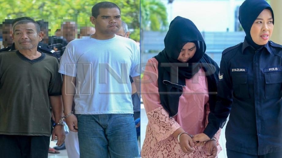 (DARI kiri) Md Isa, Ros Iman dan Rosliza mengaku bersalah mencederakan jiran mereka di Mahkamah Majistret Selayang, hari ini. FOTO Aswadi Alias