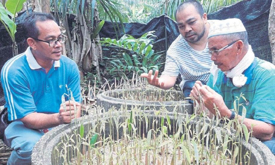 ISMAIL (kanan) menerangkan kepada pelanggan mengenai anak benih pelbagai gred.