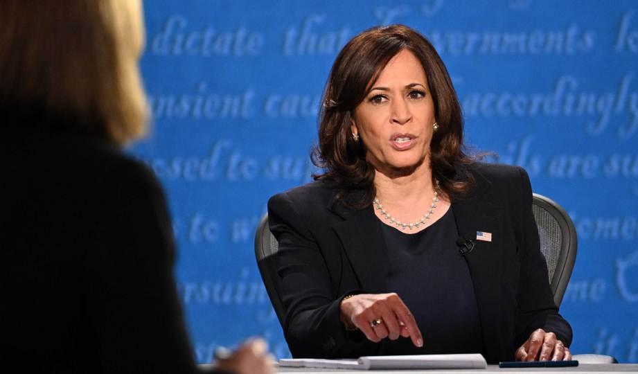 KAMALA Harris pada program Debat Naib Presiden di Universiti Utah, Salt Lake City, Utah. FOTO AFP