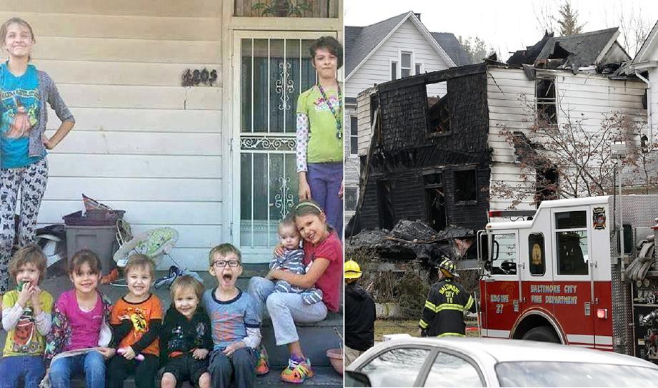 Enam kanak-kanak yang maut dalam kebakaran dengan Erin (duduk kanan, memegang bayi) yang menyelamatkan dua adiknya, Jack (berkaca mata) dan Jane (duduk, dua dari kiri). - Foto Daily Mail