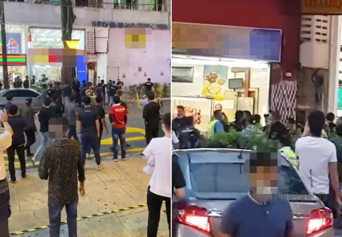 TANGKAP layar video sekumpulan lelaki bergaduh di hadapan Plaza Low Yat. FOTO tular media sosial