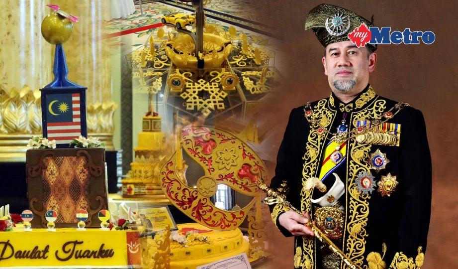 SEBAHAGIAN kek gergasi yang dipersembahkan sempena Sambutan Ulang Tahun Keputeraan Rasmi Yang di-Pertuan Agong Sultan Muhammad V. FOTO Eizairi Shamsudin