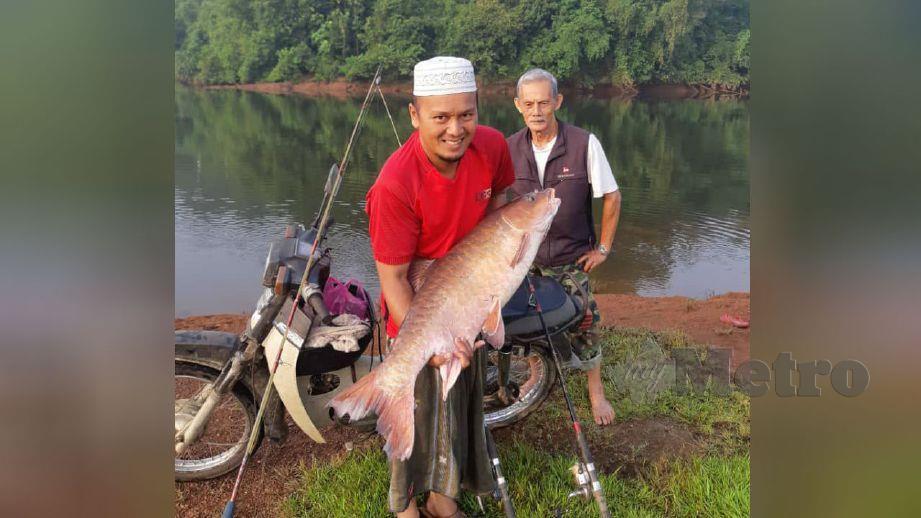 MOHD Asri memegang ikan kelah merah disamping Mustafa yang berjaya memancingnya. FOTO ihsan pembaca