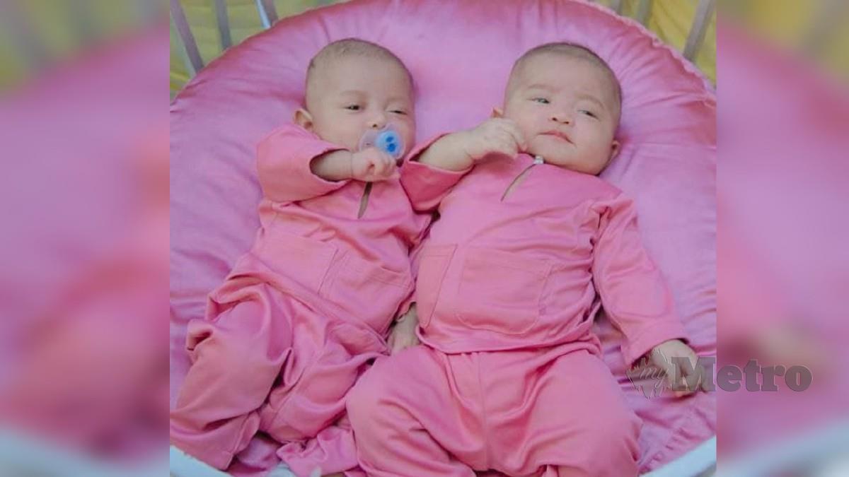 BAYI kembar pasangan Nur Syazreen dan Nureen Naimah. FOTO ihsan NUREEN NAIMAH MAHYUDIN