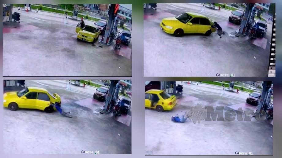 Gambar daripada CCTV kejadian curi kereta di sebuah pam minyak di Mentakab pagi semalam. Foto Ihsam Pembaca