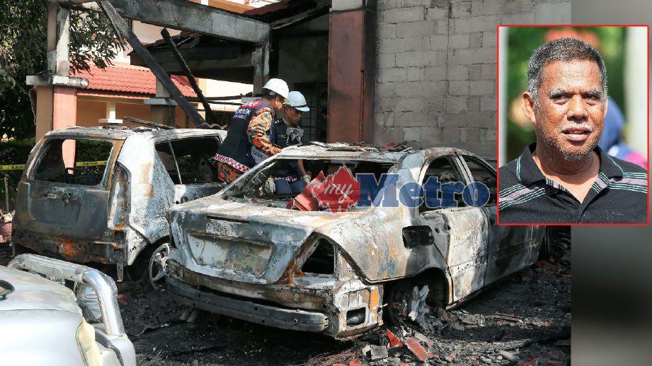 Anggota Forensik Jabatan Bomba dan Penyelamat memeriksa kereta yang terbakar. (Gambar kecil) Nor Azman. FOTO Ahmad Irham Mohd Noor