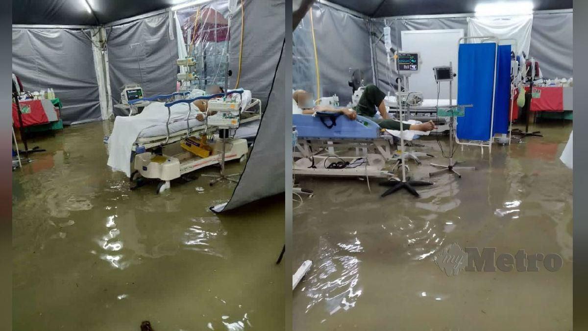 KEADAAN banjir kilat di khemah saringan Covid-19 dan saringan kecemasan di hadapan Jabatan Kecemasan dan Trauma Hospital Kulim petang tadi. FOTO ihsan pembaca