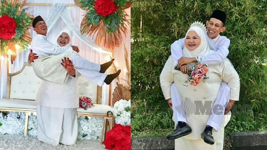 NORASYIDAH mendukung suaminya (kiri) dan Farid dikendong Norasyidah (kanan). FOTO ihsan Norasyidah Mokhtar
