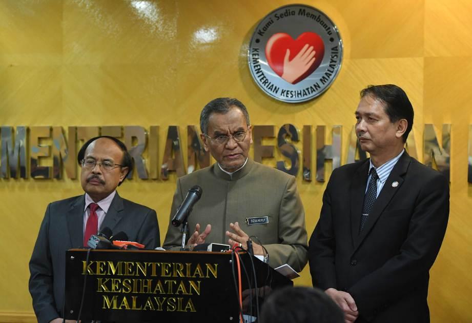 DR Dzulkefly (tengah) pada sidang media mengenai perkembangan terkini penularan jangkitan koronavirus baharu (2019-nCoV) di Kementerian Kesihatan Malaysia, Putrajaya. FOTO BERNAMA