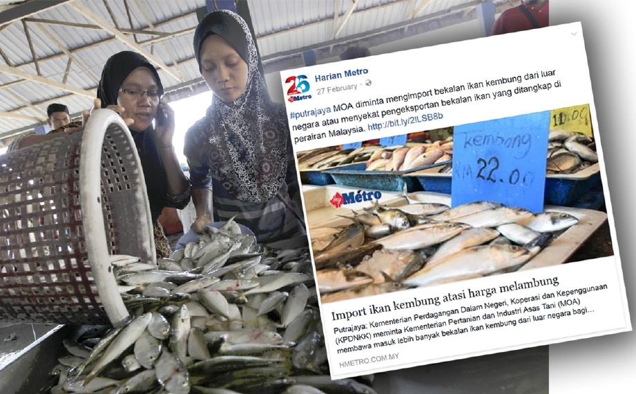 Lambakan ikan kembung menyebabkan peniaga jual dengan RM10 bagi tiga kilogram. - Foto Fail