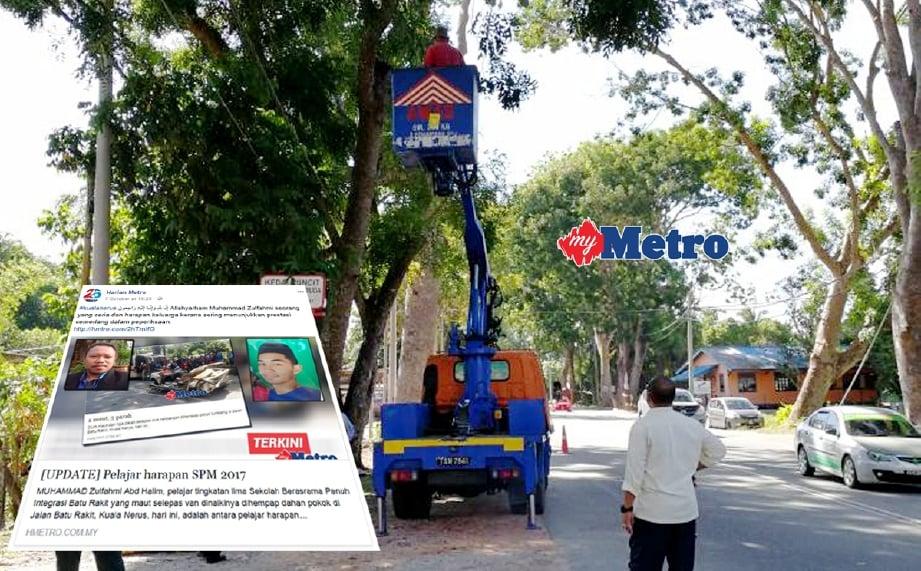 Kerja kerja mencantas dahan pokok di Batu Rakit sedang dilakukan oleh MBKT dan MDS. - Foto BAHAROM BAKAR.