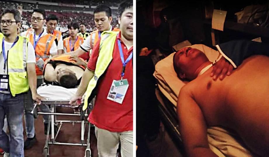 ZULRAINI dikejarkan ke hospital selepas cedera diserang penyokong Indonesia.
