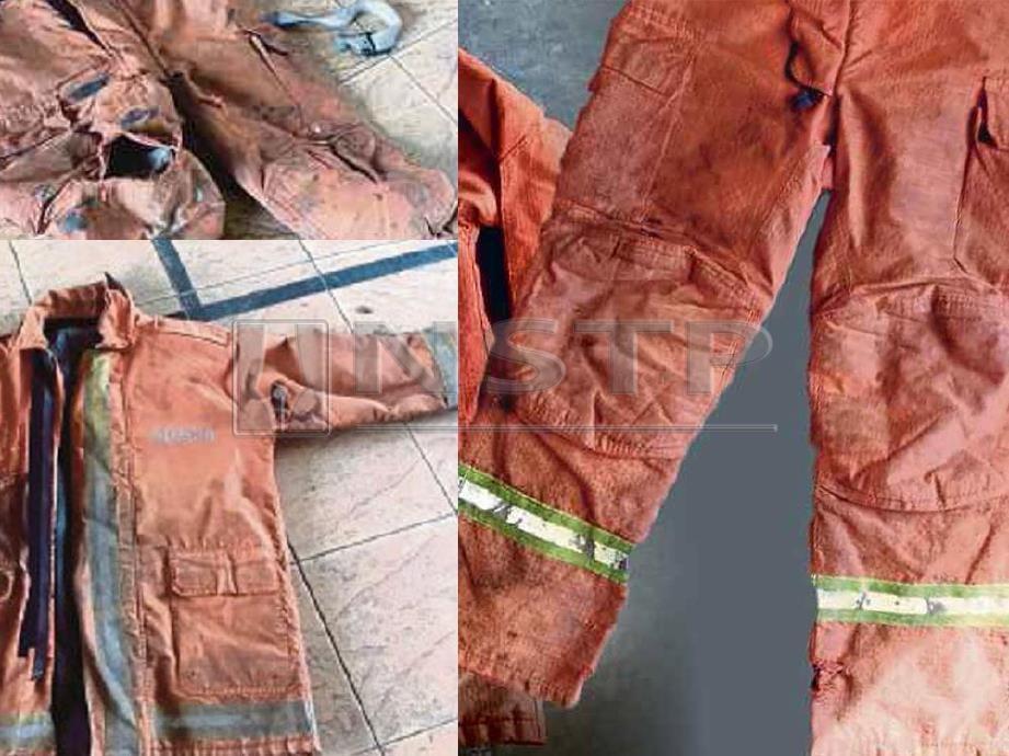 KEADAAN baju kalis api anggota bomba yang usang dan koyak.