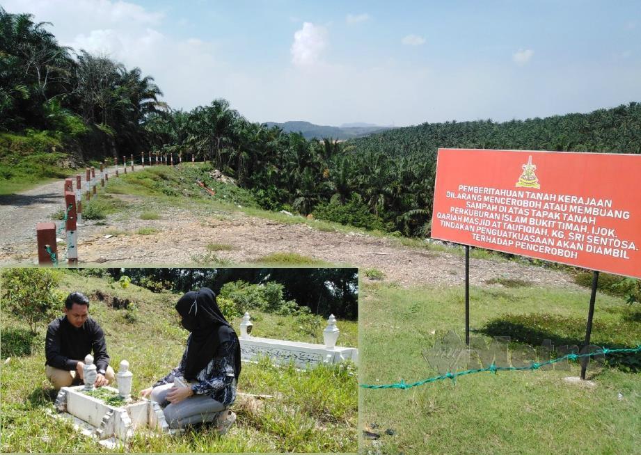 PAPAN tanda amaran dipasang di Tanah Perkuburan Islam Bukit Timah, Ijok. (Gambar kecil) Muhammad Syafiq dan Nur Syazwanie menziarahi kubur anak kedua mereka. FOTO Amirul Aiman Hamsuddin.