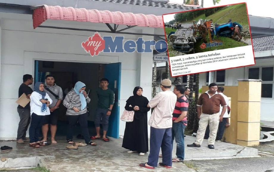 AHLI keluarga mangsa kemalangan maut di Senai menunggu proses bedah siasat di bilik mayat Hospital Temenggung Seri Maharaja Tun Ibrahim, Kulai, hari ini. FOTO Mohd Sabran Md Sani