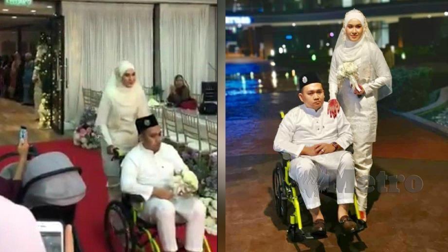 HAZREEN menolak  Mohd Aliff yang duduk di kerusi roda menuju ke meja makan beradab ketika majlis persandingan mereka di Putrajaya, Ahad lalu. FOTO ihsan Hazreen Affiza Muhamad.