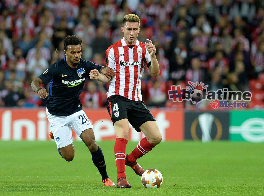 LAPORTE beraksi di Liga Europa ketika Athletic Club Bilbao menentang Hertha BSC Berlin. Foto AFP
