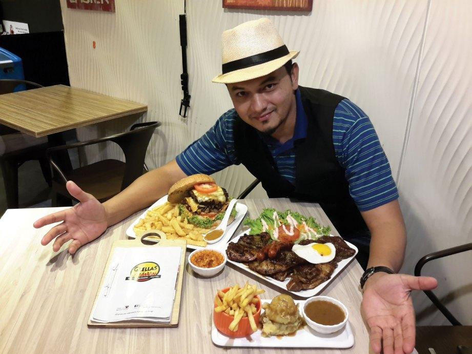 FAIZAL menunjukkan menu Giant Blamb burger dan set grill OMG.