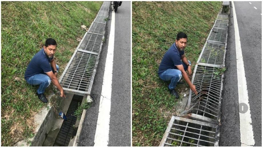 Mohammad Hisham menunjukkan besi penutup longkang yang rosak dan (gambar kanan) dan tiada penutup longkang (gambar kiri) dikesan di Petaling Jaya. Foto Yusmizal Dolah Aling
