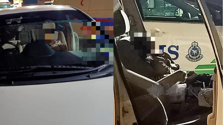 Mangsa periksa selepas ditemui dalam kenderaannya di kawasan parkir stesen minyak di Sama Gagah dekat Lebuhraya Utara Selatan arah utara pagi hari ini. Foto Ihsan Pembaca