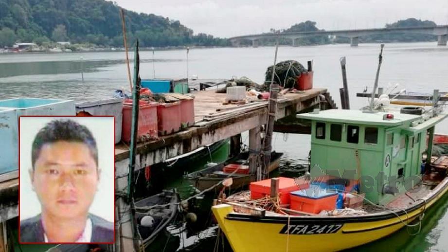 Mayat Chong (gambar kecil) ditemui 7.30 malam tadi sebelum tiba di jeti APMM Kemaman pagi ini. FOTO Rosli Ilham