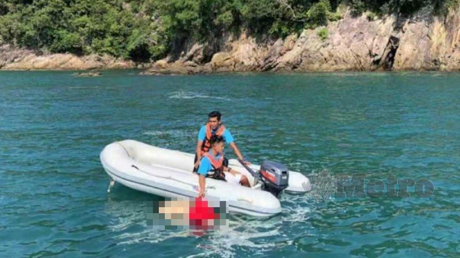 Mayat mangsa ditemui terapung oleh nelayan. FOTO Ihsan Pembaca