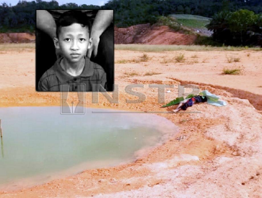 Mohd Zahid (gambar kecil) lemas selepas ditemui terapung di kolam tadahan air tapak pembinaan. FOTO Ihsan Pembaca
